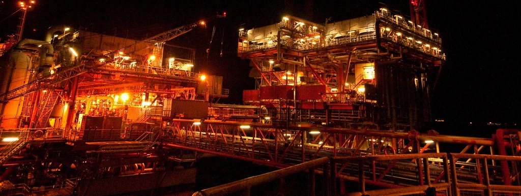 Offshore Platform at Night