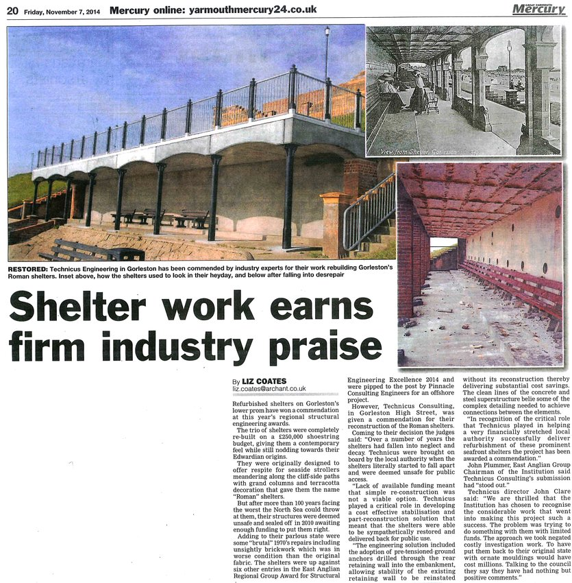 Gorleston Seafront Shelters Great Yarmouth Mercury Article
